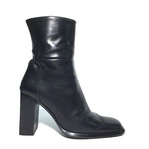 Via Spiga Sz5M Trendy Black Square Toe Ankle Boots